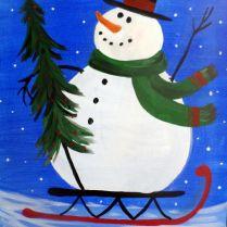 snow man sleigh